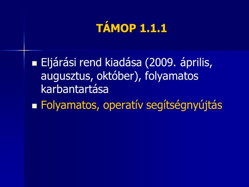 TÁMOP 1.1.1 Eljárási rend kiadása (2009. április, augusztus, október), folyamatos karbantartása Folyamatos, operatív segítségnyújtás