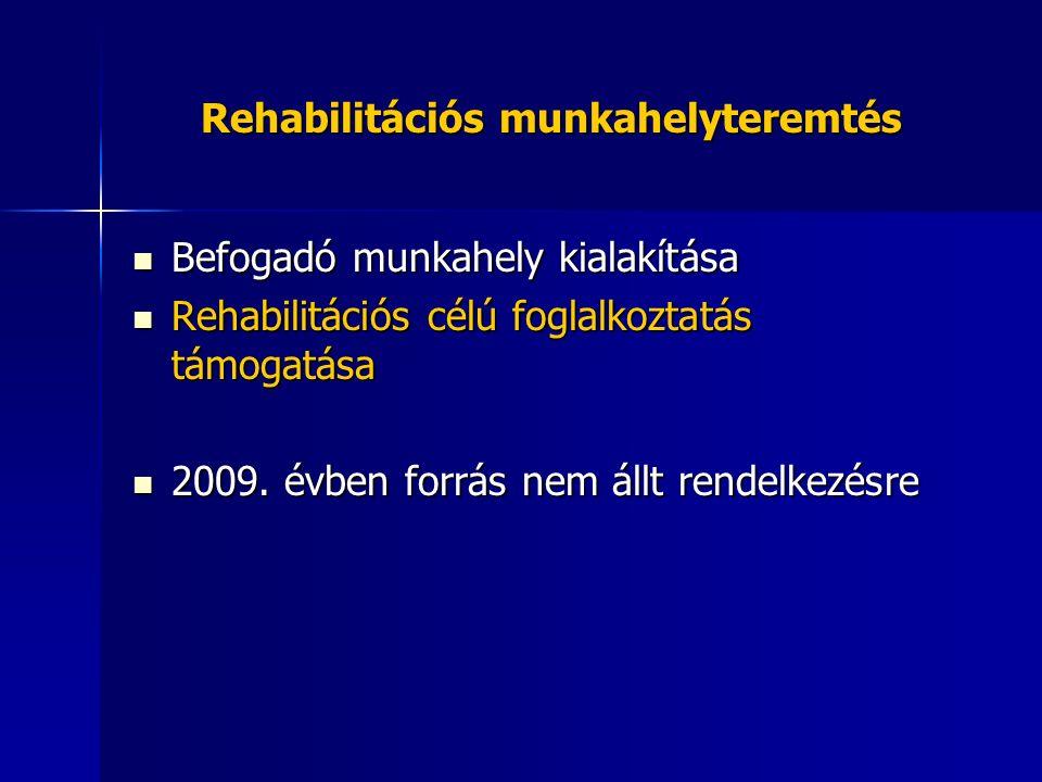 Rehabilitációs munkahelyteremtés Befogadó munkahely kialakítása Befogadó munkahely kialakítása Rehabilitációs célú foglalkoztatás támogatása Rehabilit