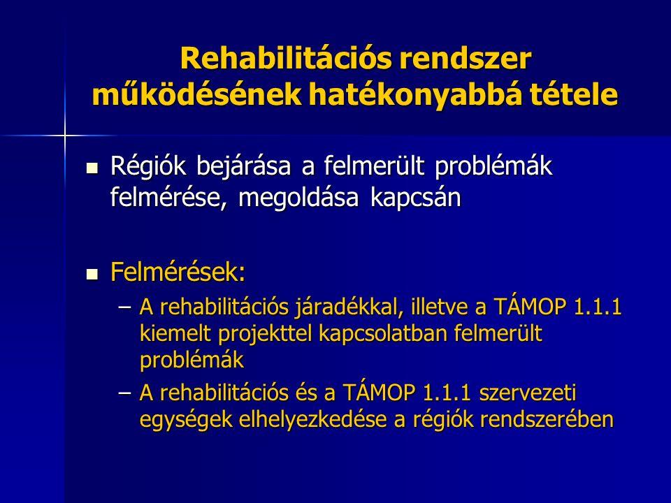 Rehabilitációs rendszer működésének hatékonyabbá tétele Régiók bejárása a felmerült problémák felmérése, megoldása kapcsán Régiók bejárása a felmerült problémák felmérése, megoldása kapcsán Felmérések: Felmérések: –A rehabilitációs járadékkal, illetve a TÁMOP 1.1.1 kiemelt projekttel kapcsolatban felmerült problémák –A rehabilitációs és a TÁMOP 1.1.1 szervezeti egységek elhelyezkedése a régiók rendszerében
