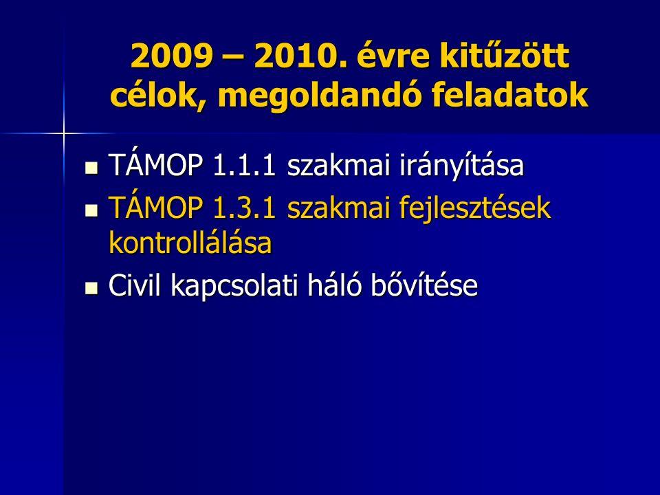 2009 – 2010. évre kitűzött célok, megoldandó feladatok TÁMOP 1.1.1 szakmai irányítása TÁMOP 1.1.1 szakmai irányítása TÁMOP 1.3.1 szakmai fejlesztések