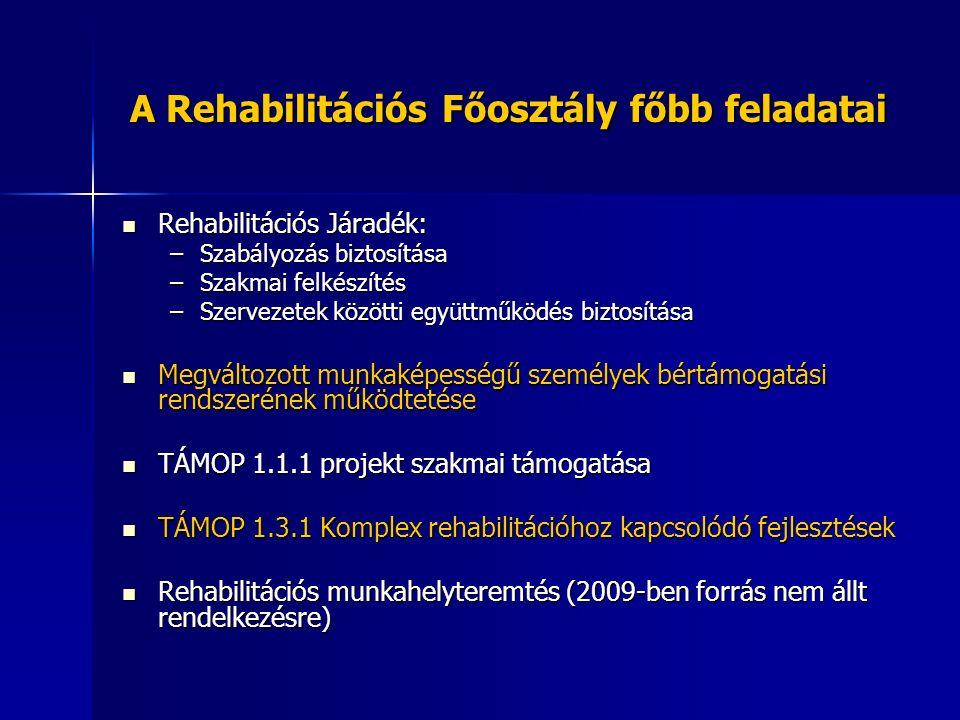 A Rehabilitációs Főosztály főbb feladatai Rehabilitációs Járadék: Rehabilitációs Járadék: –Szabályozás biztosítása –Szakmai felkészítés –Szervezetek közötti együttműködés biztosítása Megváltozott munkaképességű személyek bértámogatási rendszerének működtetése Megváltozott munkaképességű személyek bértámogatási rendszerének működtetése TÁMOP 1.1.1 projekt szakmai támogatása TÁMOP 1.1.1 projekt szakmai támogatása TÁMOP 1.3.1 Komplex rehabilitációhoz kapcsolódó fejlesztések TÁMOP 1.3.1 Komplex rehabilitációhoz kapcsolódó fejlesztések Rehabilitációs munkahelyteremtés (2009-ben forrás nem állt rendelkezésre) Rehabilitációs munkahelyteremtés (2009-ben forrás nem állt rendelkezésre)