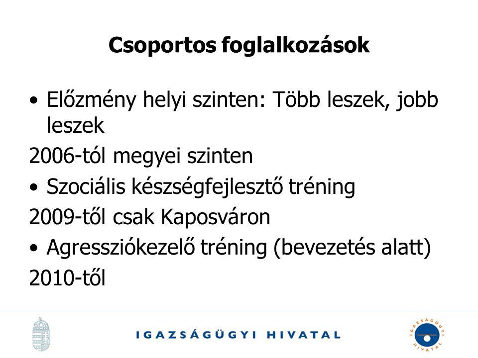 Csoportos foglalkozások Előzmény helyi szinten: Több leszek, jobb leszek 2006-tól megyei szinten Szociális készségfejlesztő tréning 2009-től csak Kaposváron Agressziókezelő tréning (bevezetés alatt) 2010-től