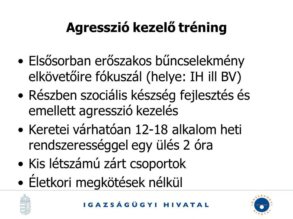 Agresszió kezelő tréning Elsősorban erőszakos bűncselekmény elkövetőire fókuszál (helye: IH ill BV) Részben szociális készség fejlesztés és emellett a