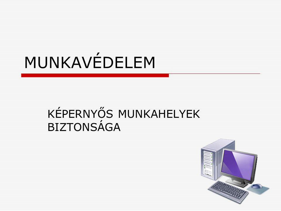 MUNKAVÉDELEM KÉPERNYŐS MUNKAHELYEK BIZTONSÁGA