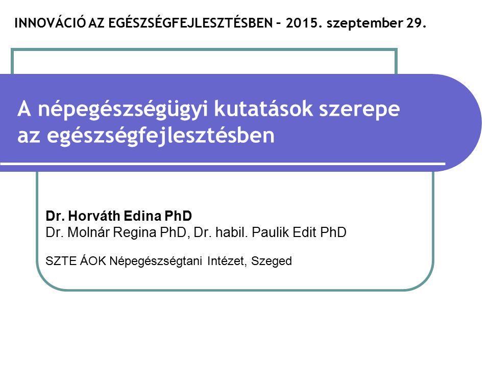 Összefoglalás Innováció a népegészségügyi kutatásokban  a döntéshozást a népegészségügy minden szintjén segítő időszerű kutatások folytatása  további kutatások a betegség megelőzés, jóllét témákban  evidencián alapuló stratégiafejlesztést támogató tudásbázis kiterjesztése  új kutatási módszerek kidolgozása  a kutatóközpontokkal és a felsőoktatási intézményekkel való partneri kapcsolatok kiépítése  megfelelő kommunikációs csatornák kiépítése a népegészségüggyel foglalkozó tudományos körök és az országos stratégiatervezés között