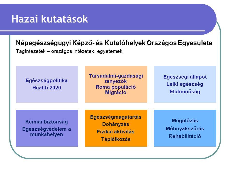 Népegészségügyi Képző- és Kutatóhelyek Országos Egyesülete Tagintézetek – országos intézetek, egyetemek Hazai kutatások Egészségpolitika Health 2020 Társadalmi-gazdasági tényezők Roma populáció Migráció Egészségi állapot Lelki egészség Életminőség Kémiai biztonság Egészségvédelem a munkahelyen Egészségmagatartás Dohányzás Fizikai aktivitás Táplálkozás Megelőzés Méhnyakszűrés Rehabilitáció
