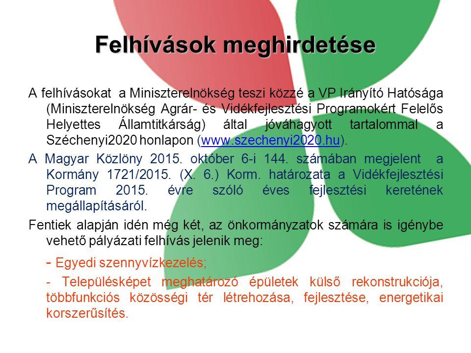 Felhívások meghirdetése A felhívásokat a Miniszterelnökség teszi közzé a VP Irányító Hatósága (Miniszterelnökség Agrár- és Vidékfejlesztési Programokért Felelős Helyettes Államtitkárság) által jóváhagyott tartalommal a Széchenyi2020 honlapon (www.szechenyi2020.hu).www.szechenyi2020.hu A Magyar Közlöny 2015.