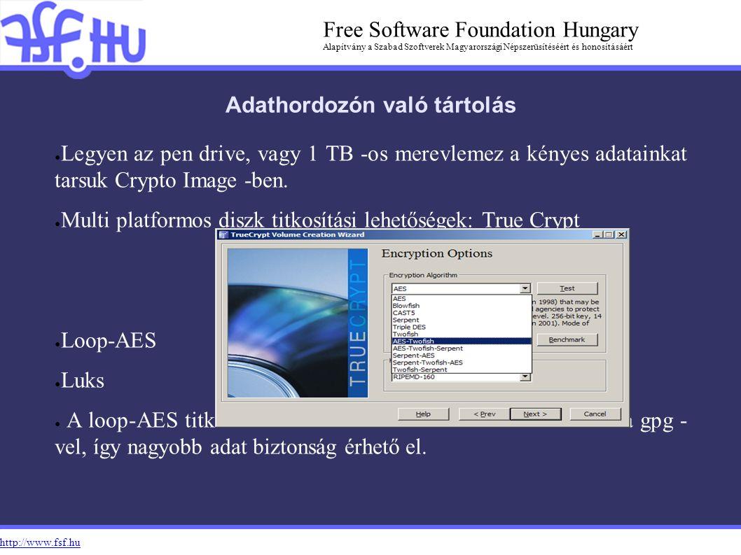 http://www.fsf.hu Free Software Foundation Hungary Alapítvány a Szabad Szoftverek Magyarországi Népszerüsítéséért és honosításáért Adathordozón való tártolás ● Legyen az pen drive, vagy 1 TB -os merevlemez a kényes adatainkat tarsuk Crypto Image -ben.