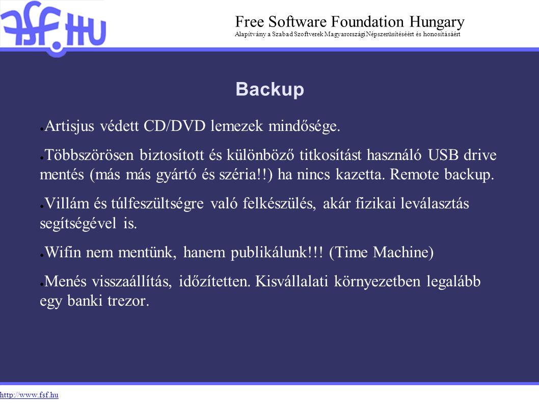 http://www.fsf.hu Free Software Foundation Hungary Alapítvány a Szabad Szoftverek Magyarországi Népszerüsítéséért és honosításáért Backup ● Artisjus védett CD/DVD lemezek mindősége.