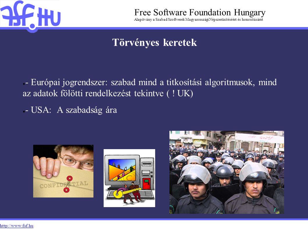 http://www.fsf.hu Free Software Foundation Hungary Alapítvány a Szabad Szoftverek Magyarországi Népszerüsítéséért és honosításáért Törvényes keretek ● - Európai jogrendszer: szabad mind a titkosítási algoritmusok, mind az adatok fölötti rendelkezést tekintve ( .