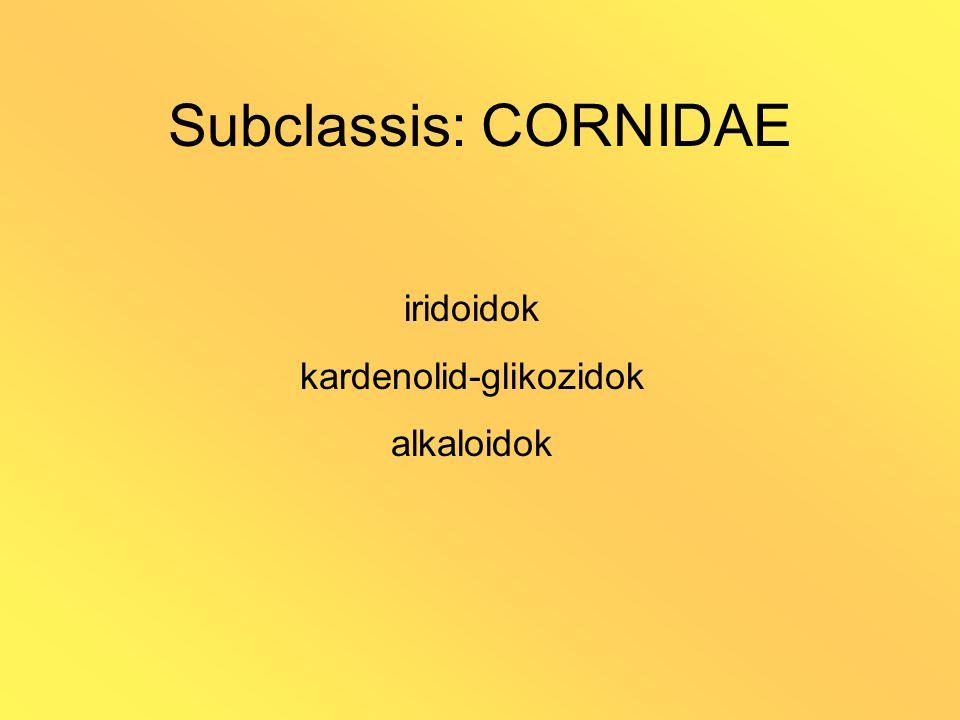 Subclassis: CORNIDAE iridoidok kardenolid-glikozidok alkaloidok