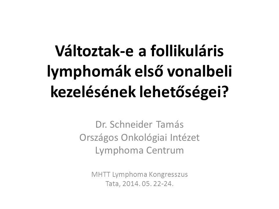Előrehaladott (stád.: II-IV), tünetmentes, nem bulky FL kezelése Solal-Celigny, JCO, 2012,30:3848: 107 beteg 64 hónapos FU.