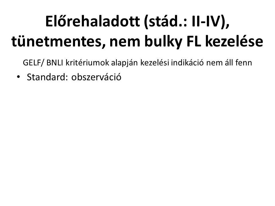 Előrehaladott (stád.: II-IV), tünetmentes, nem bulky FL kezelése GELF/ BNLI kritériumok alapján kezelési indikáció nem áll fenn Standard: obszerváció