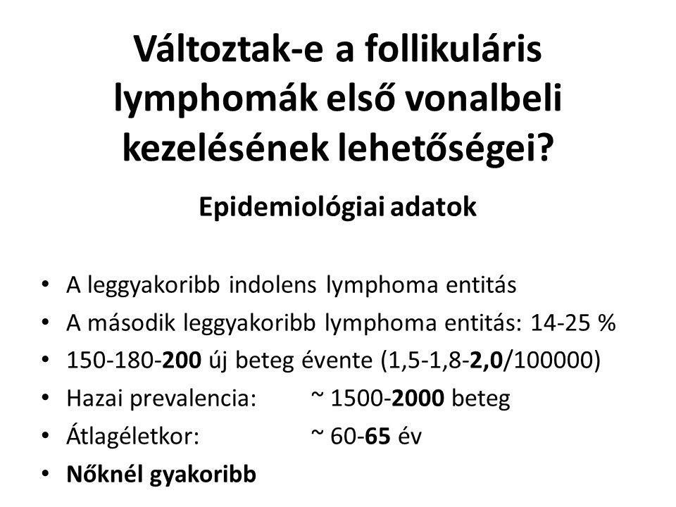 Előrehaladott (stád.: II X -IV) FL kezelése (csak klinikai vizsgálatban!) Magas rizikójú betegek elsődleges ASCT-ja Al Khabouri, J Natl Cancer Inst, 2012, 104:18.
