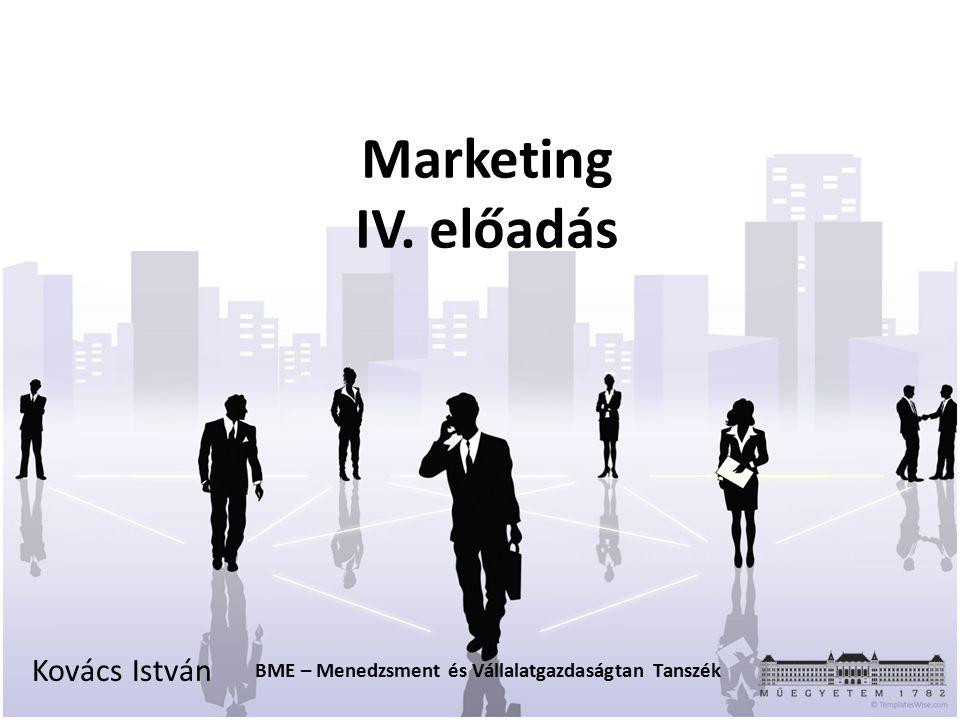 Marketing IV. előadás Kovács István BME – Menedzsment és Vállalatgazdaságtan Tanszék