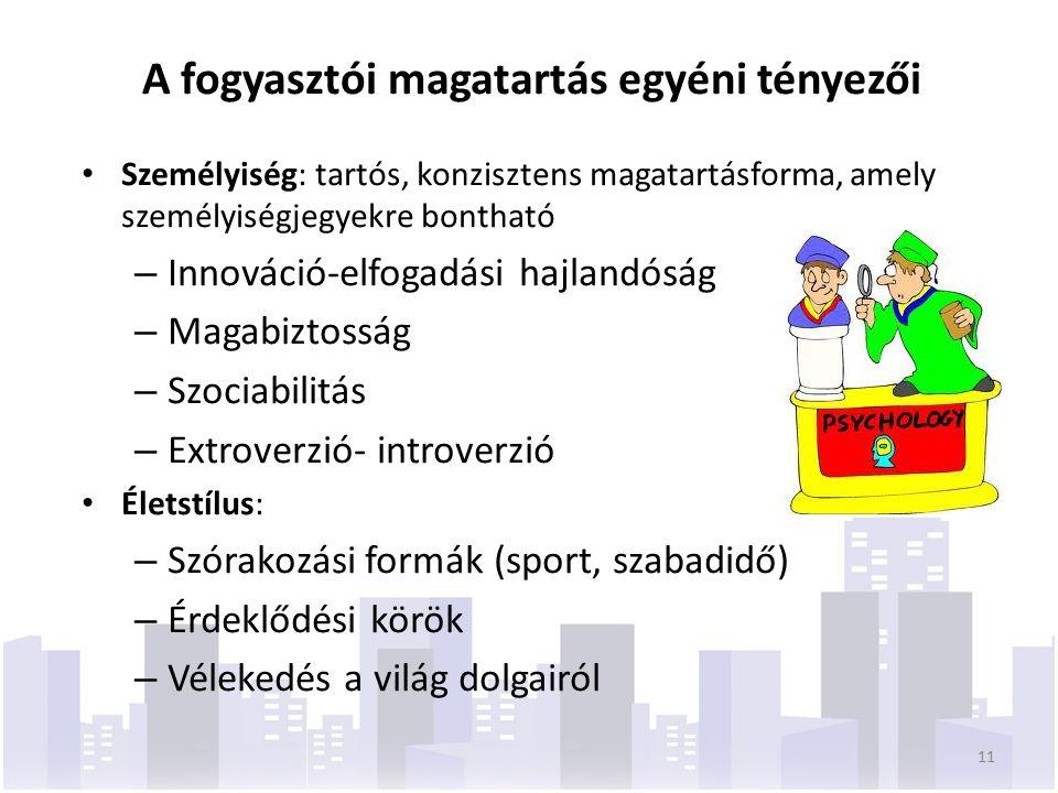 A fogyasztói magatartás egyéni tényezői Személyiség: tartós, konzisztens magatartásforma, amely személyiségjegyekre bontható – Innováció-elfogadási hajlandóság – Magabiztosság – Szociabilitás – Extroverzió- introverzió Életstílus: – Szórakozási formák (sport, szabadidő) – Érdeklődési körök – Vélekedés a világ dolgairól 11