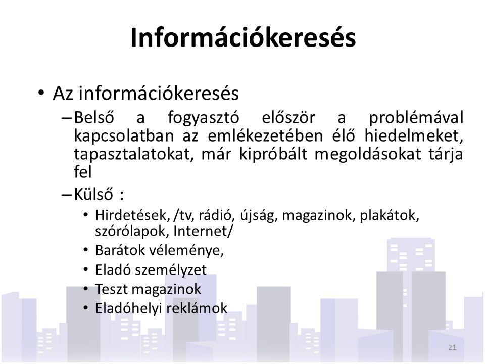 Információkeresés Az információkeresés – Belső a fogyasztó először a problémával kapcsolatban az emlékezetében élő hiedelmeket, tapasztalatokat, már kipróbált megoldásokat tárja fel – Külső : Hirdetések, /tv, rádió, újság, magazinok, plakátok, szórólapok, Internet/ Barátok véleménye, Eladó személyzet Teszt magazinok Eladóhelyi reklámok 21