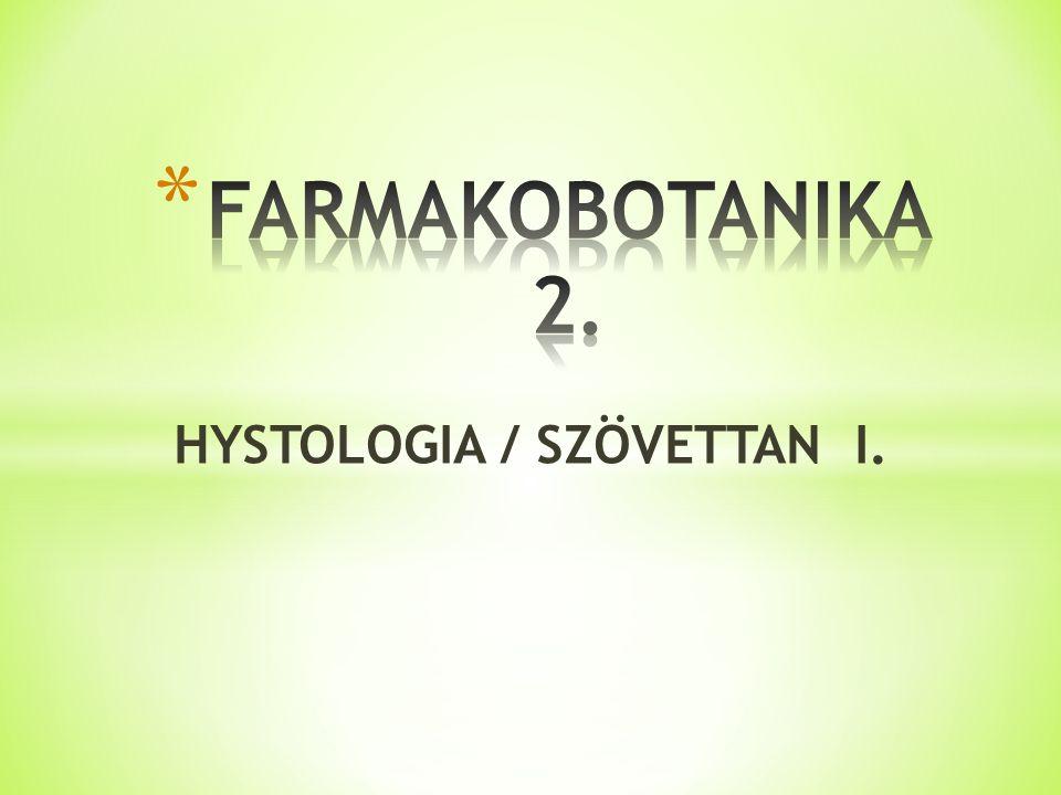 HYSTOLOGIA / SZÖVETTAN I.