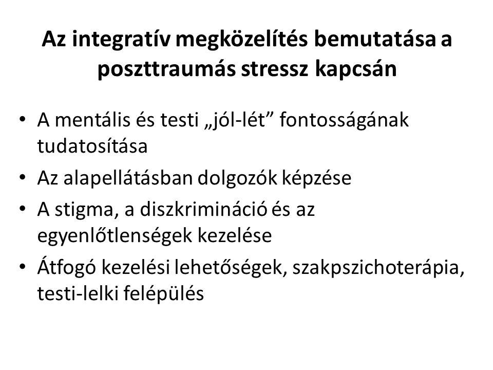 """Az integratív megközelítés bemutatása a poszttraumás stressz kapcsán A mentális és testi """"jól-lét fontosságának tudatosítása Az alapellátásban dolgozók képzése A stigma, a diszkrimináció és az egyenlőtlenségek kezelése Átfogó kezelési lehetőségek, szakpszichoterápia, testi-lelki felépülés"""
