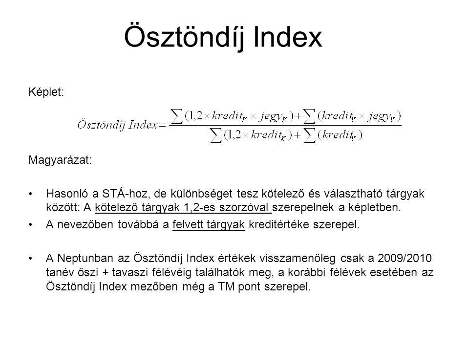 Ösztöndíj Index Képlet: Magyarázat: Hasonló a STÁ-hoz, de különbséget tesz kötelező és választható tárgyak között: A kötelező tárgyak 1,2-es szorzóval szerepelnek a képletben.
