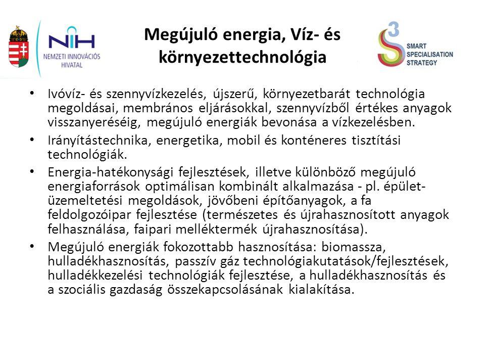 Megújuló energia, Víz- és környezettechnológia Ivóvíz- és szennyvízkezelés, újszerű, környezetbarát technológia megoldásai, membrános eljárásokkal, szennyvízből értékes anyagok visszanyeréséig, megújuló energiák bevonása a vízkezelésben.