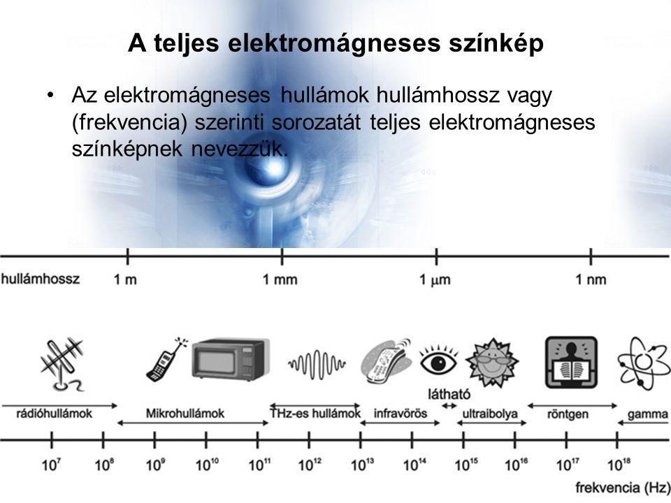 A teljes elektromágneses színkép Az elektromágneses hullámok hullámhossz vagy (frekvencia) szerinti sorozatát teljes elektromágneses színképnek nevezzük.