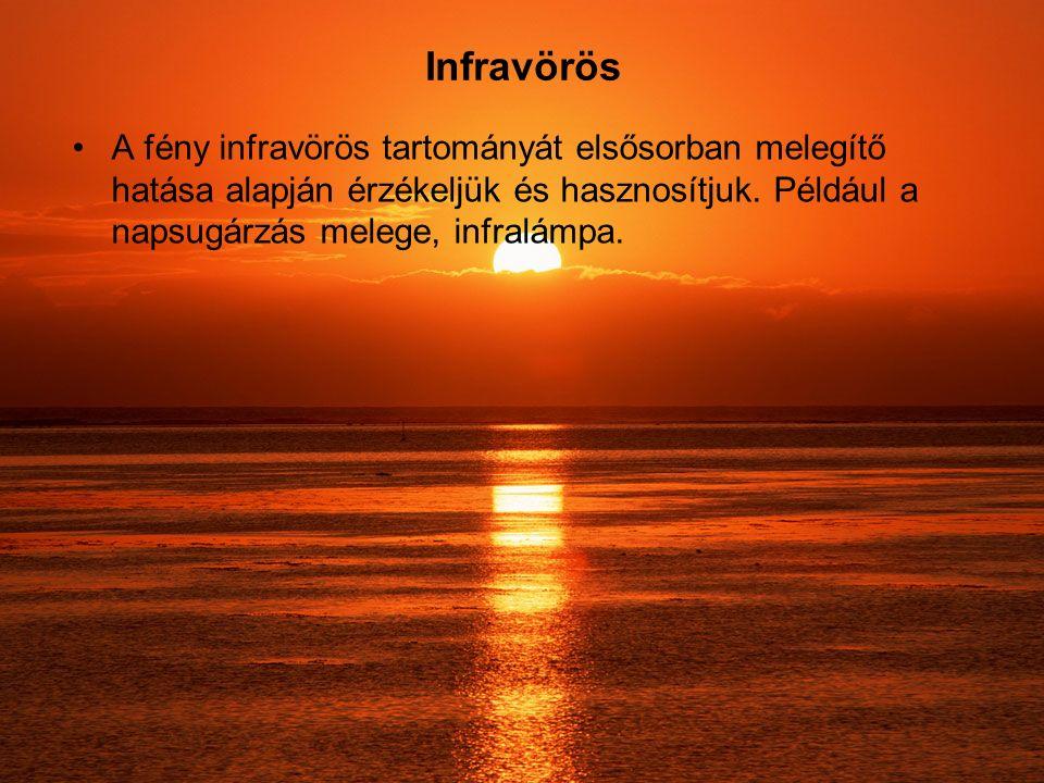 Infravörös A fény infravörös tartományát elsősorban melegítő hatása alapján érzékeljük és hasznosítjuk.