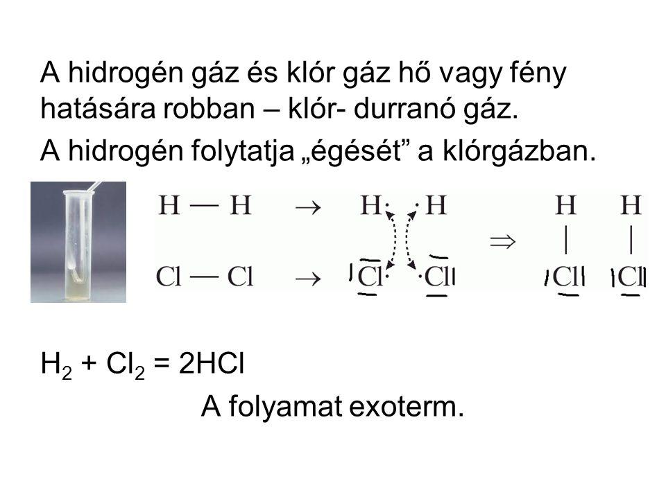 A hidrogén gáz és klór gáz hő vagy fény hatására robban – klór- durranó gáz.