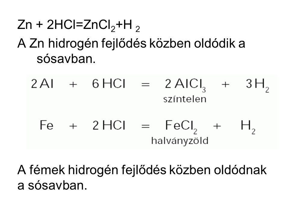 Zn + 2HCl=ZnCl 2 +H 2 A Zn hidrogén fejlődés közben oldódik a sósavban.