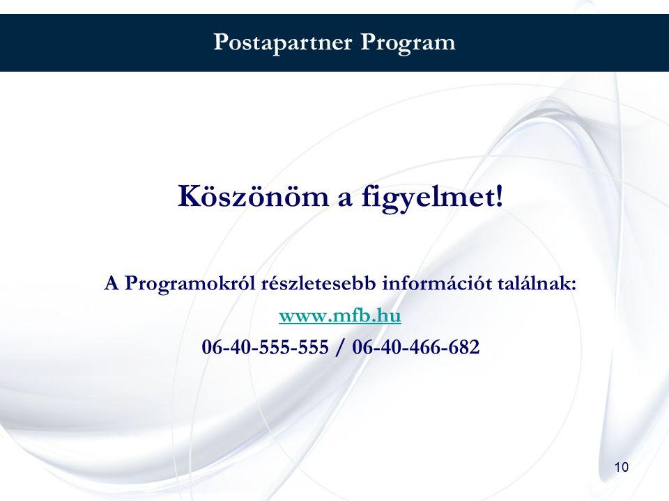 10 Postapartner Program Köszönöm a figyelmet! A Programokról részletesebb információt találnak: www.mfb.hu 06-40-555-555 / 06-40-466-682