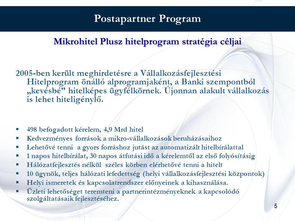 """5 Postapartner Program 2005-ben került meghirdetésre a Vállalkozásfejlesztési Hitelprogram önálló alprogramjaként, a Banki szempontból """"kevésbé hitelképes ügyfélkörnek."""