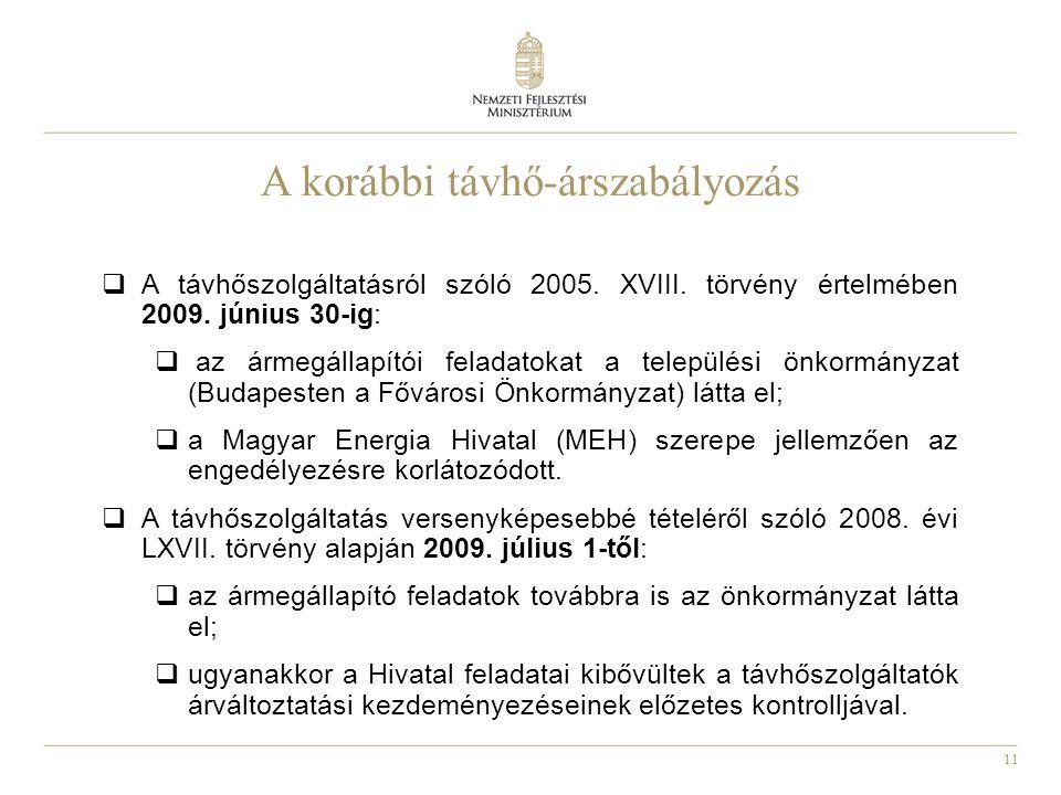 11 A korábbi távhő-árszabályozás  A távhőszolgáltatásról szóló 2005.