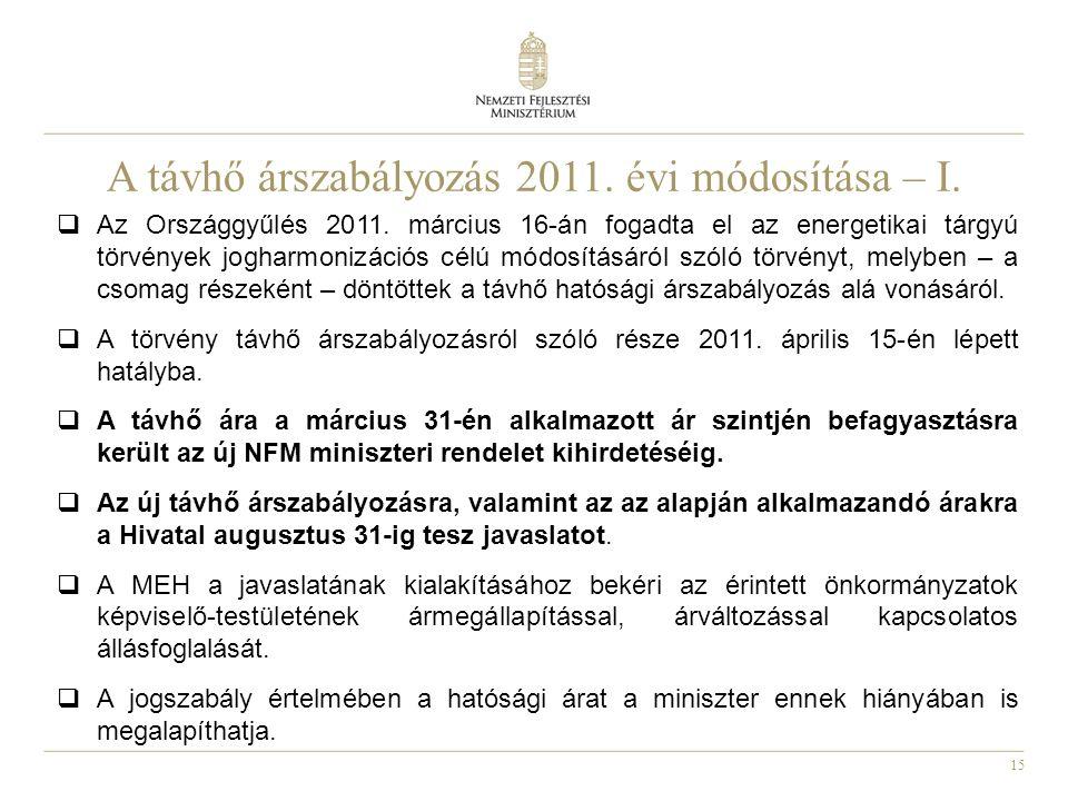 15 A távhő árszabályozás 2011. évi módosítása – I.
