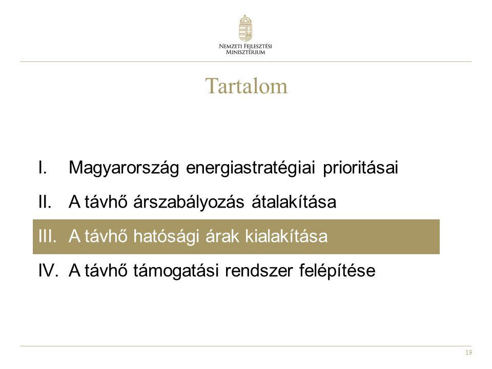 19 Tartalom I.Magyarország energiastratégiai prioritásai II.A távhő árszabályozás átalakítása III.A távhő hatósági árak kialakítása IV.A távhő támogatási rendszer felépítése