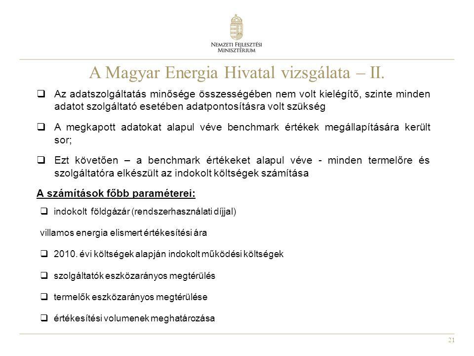21 A Magyar Energia Hivatal vizsgálata – II.