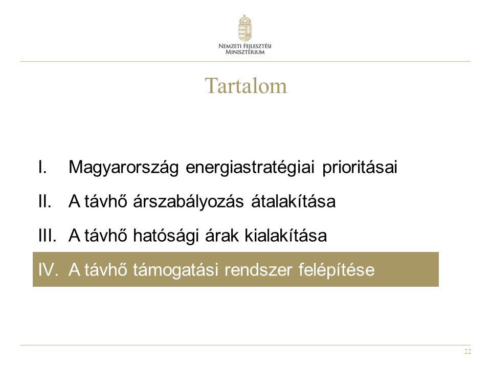 22 Tartalom I.Magyarország energiastratégiai prioritásai II.A távhő árszabályozás átalakítása III.A távhő hatósági árak kialakítása IV.A távhő támogatási rendszer felépítése