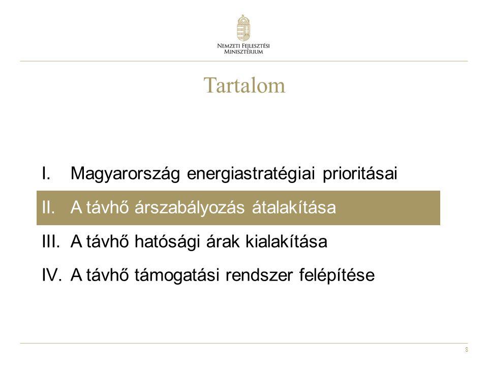 8 Tartalom I.Magyarország energiastratégiai prioritásai II.A távhő árszabályozás átalakítása III.A távhő hatósági árak kialakítása IV.A távhő támogatási rendszer felépítése