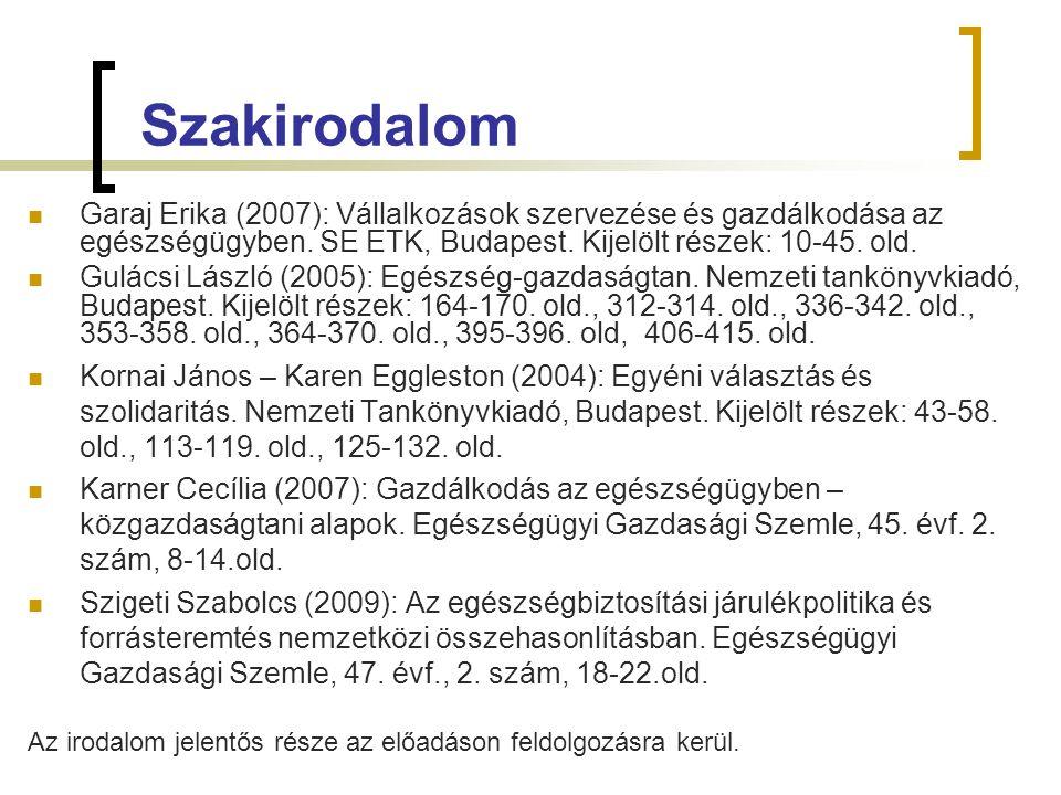 Szakirodalom Garaj Erika (2007): Vállalkozások szervezése és gazdálkodása az egészségügyben. SE ETK, Budapest. Kijelölt részek: 10-45. old. Gulácsi Lá