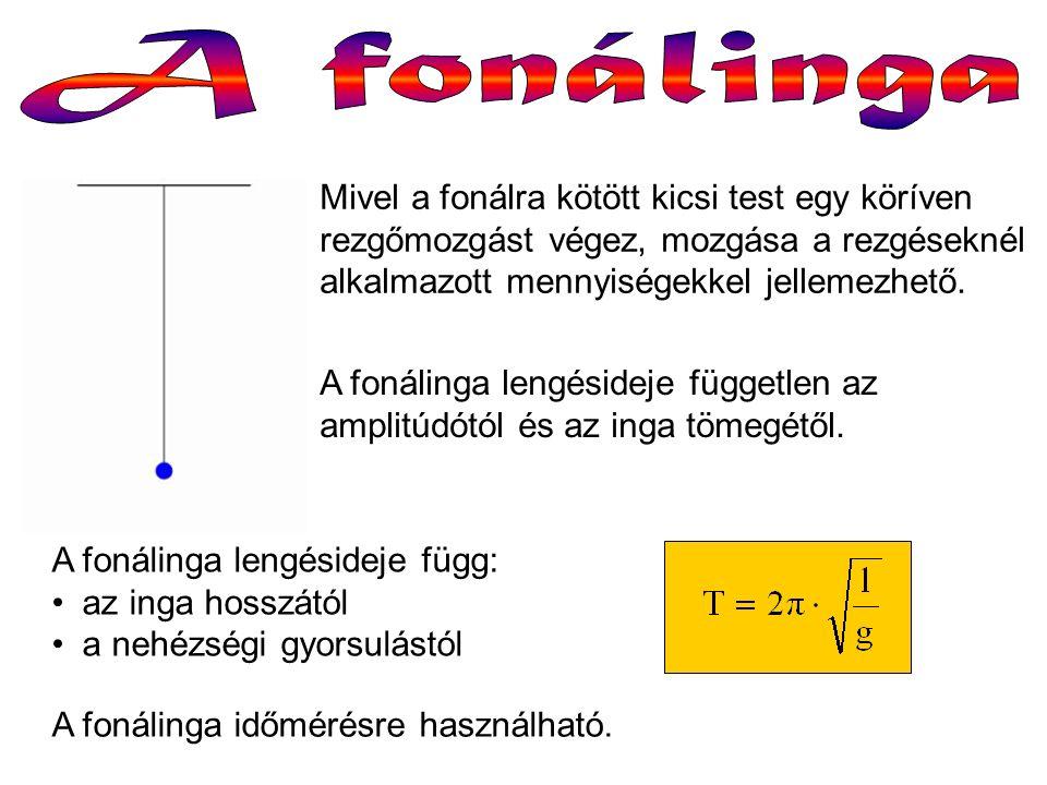 A fonálinga lengésideje független az amplitúdótól és az inga tömegétől. Mivel a fonálra kötött kicsi test egy köríven rezgőmozgást végez, mozgása a re