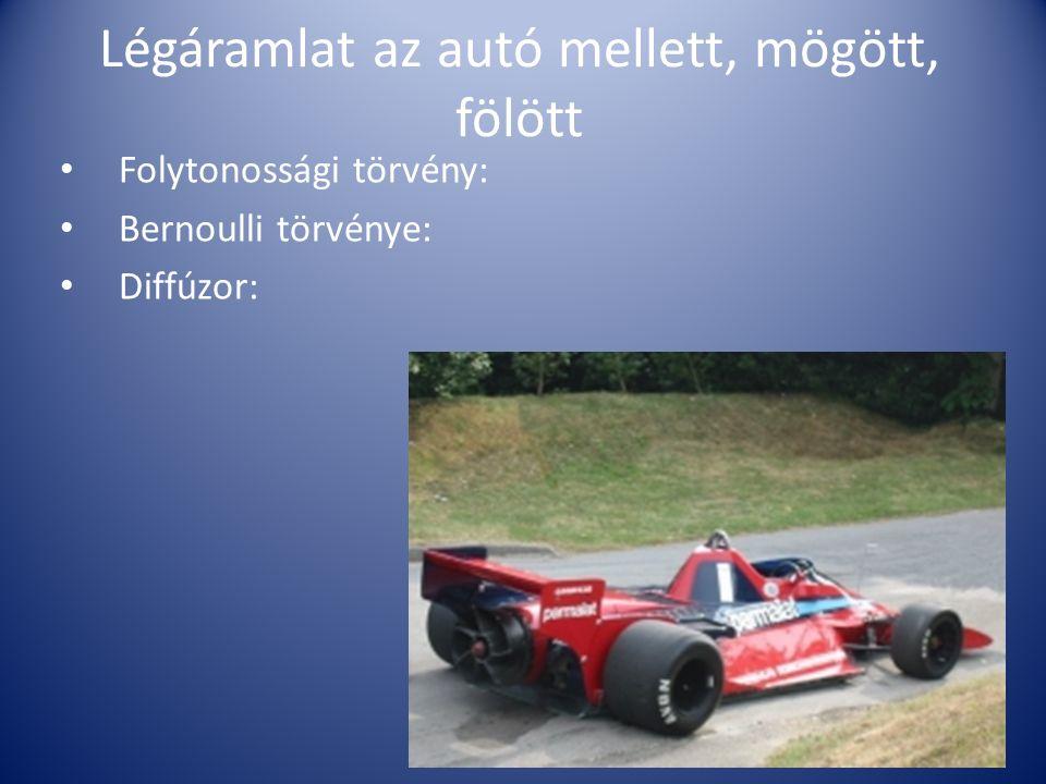 Légáramlat az autó mellett, mögött, fölött Folytonossági törvény: Bernoulli törvénye: Diffúzor: