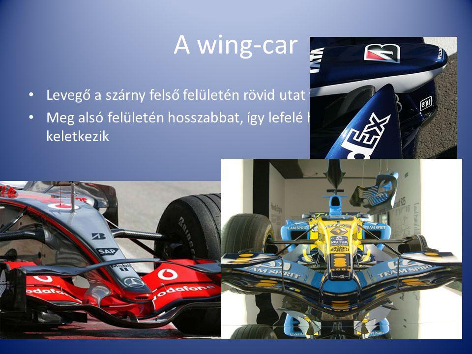 A wing-car Levegő a szárny felső felületén rövid utat tesz Meg alsó felületén hosszabbat, így lefelé ható vákuum keletkezik