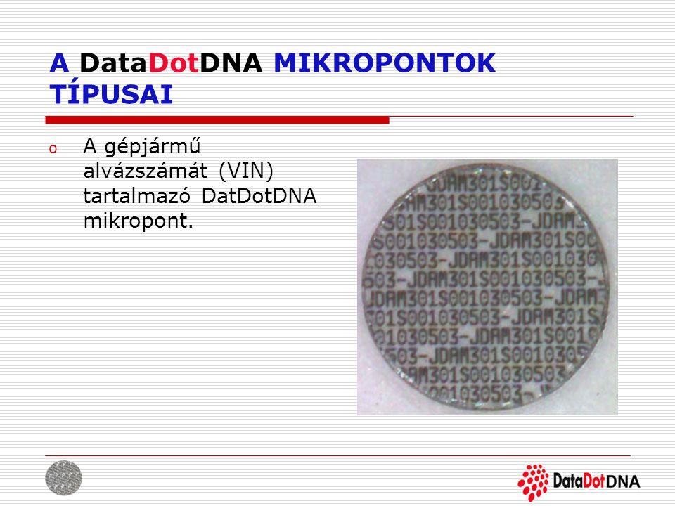 A DataDotDNA MIKROPONTOK TÍPUSAI o A gépjármű alvázszámát (VIN) tartalmazó DatDotDNA mikropont.