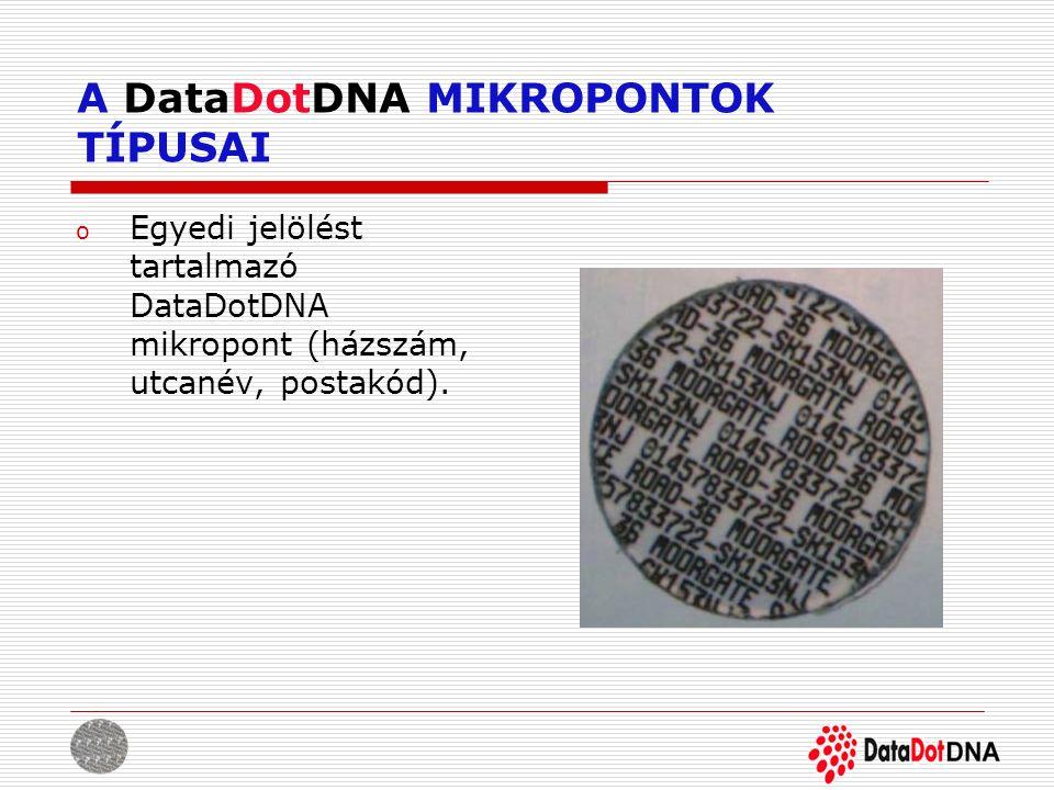 A DataDotDNA MIKROPONTOK TÍPUSAI o Egyedi jelölést tartalmazó DataDotDNA mikropont (házszám, utcanév, postakód).