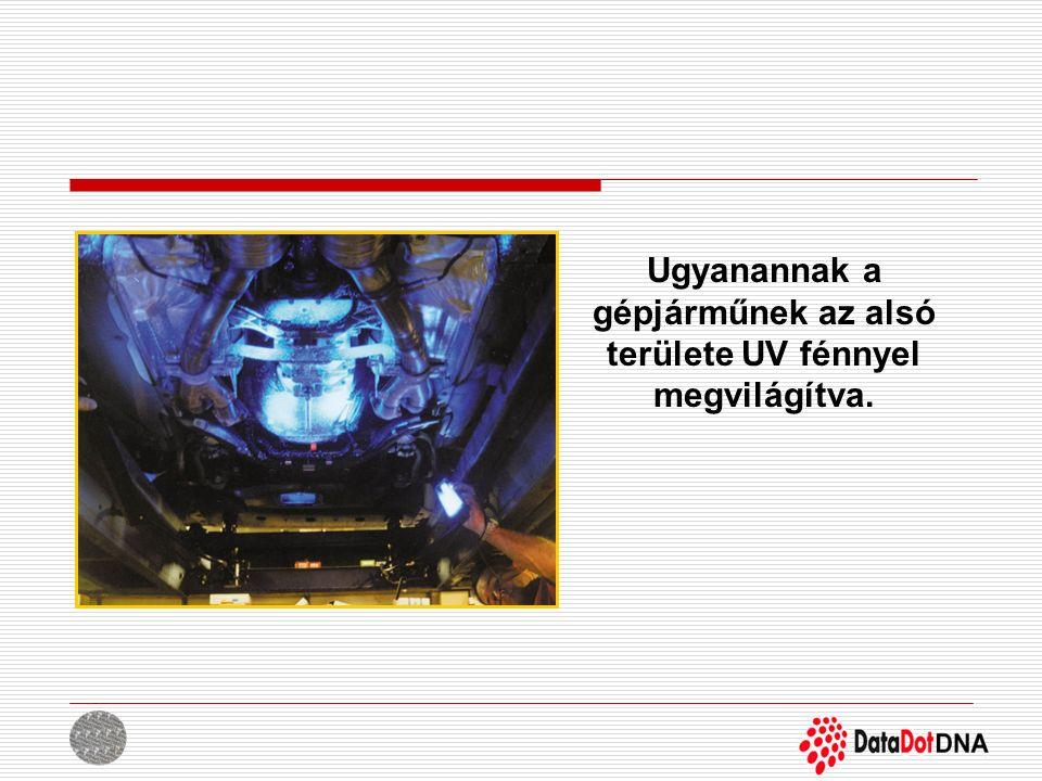 Ugyanannak a gépjárműnek az alsó területe UV fénnyel megvilágítva.