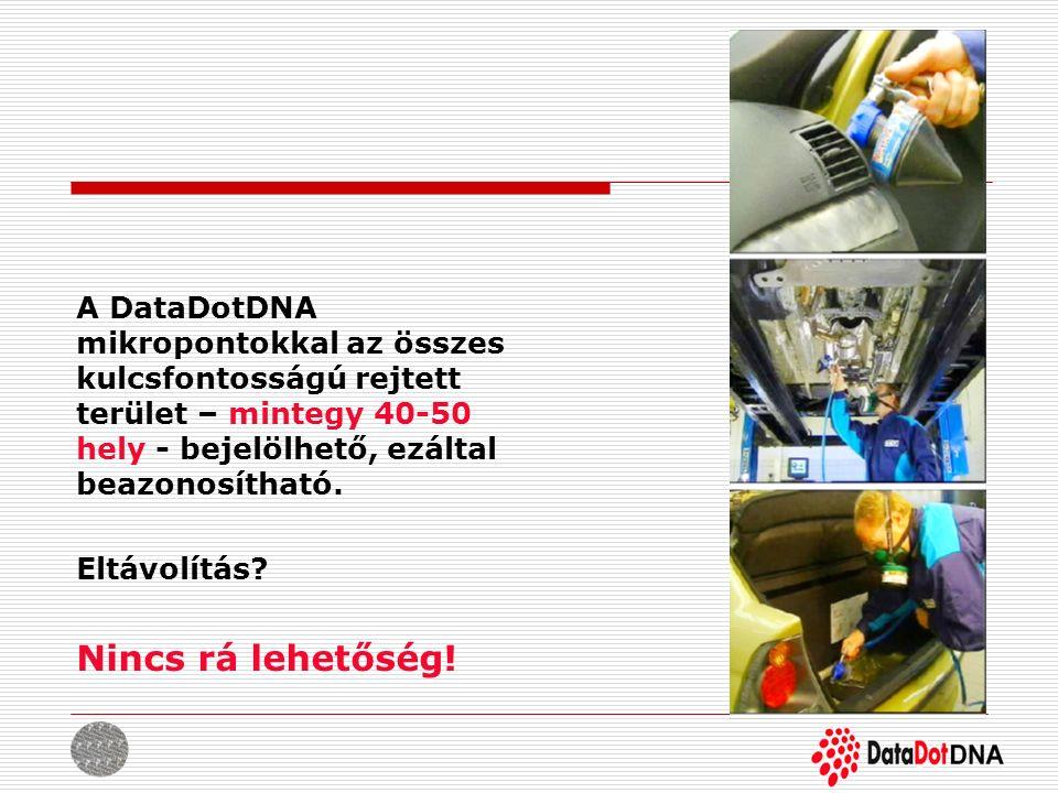 A DataDotDNA mikropontokkal az összes kulcsfontosságú rejtett terület – mintegy 40-50 hely - bejelölhető, ezáltal beazonosítható. Eltávolítás? Nincs r