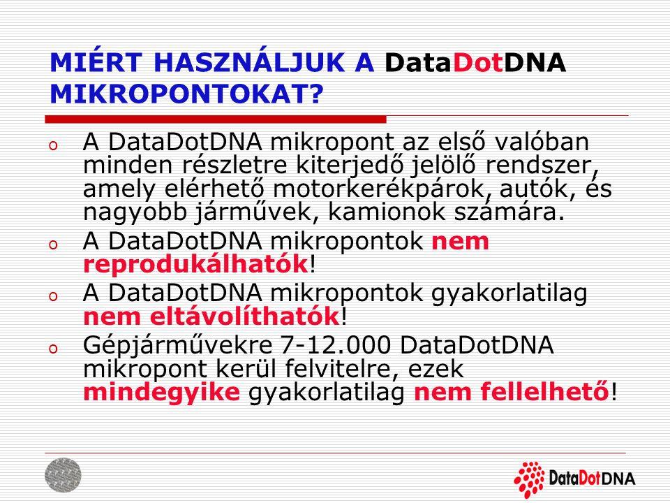 MIÉRT HASZNÁLJUK A DataDotDNA MIKROPONTOKAT? o A DataDotDNA mikropont az első valóban minden részletre kiterjedő jelölő rendszer, amely elérhető motor
