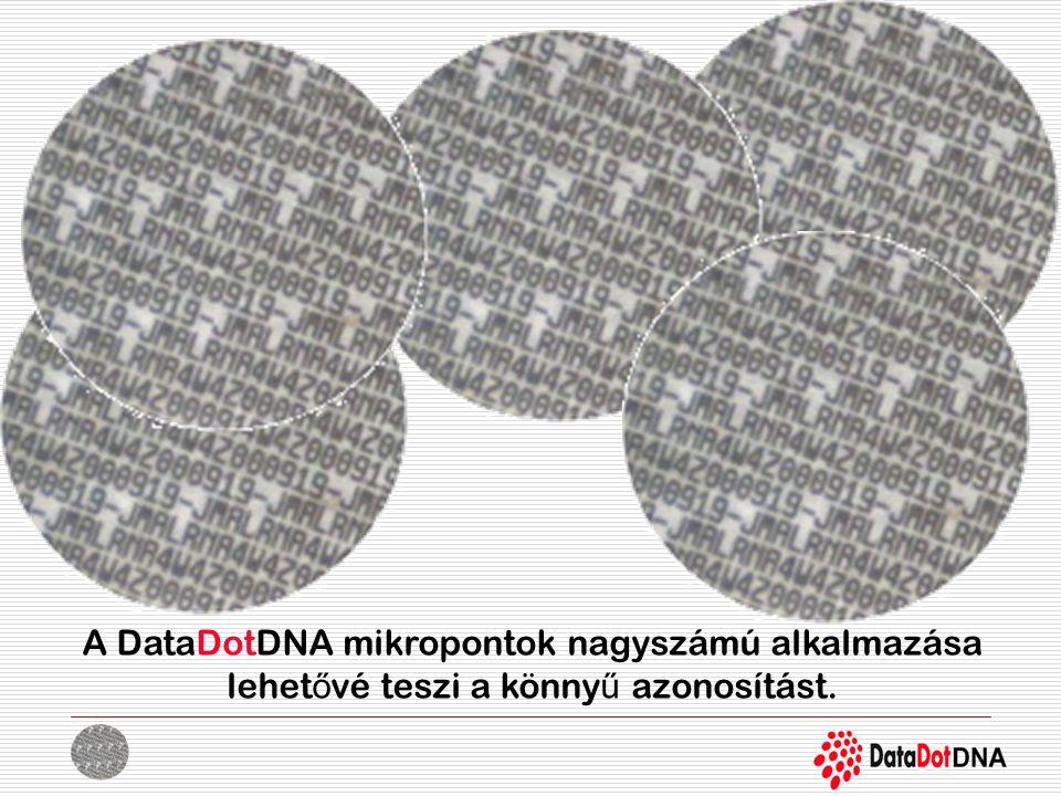 A DataDotDNA mikropontok nagyszámú alkalmazása lehet ő vé teszi a könny ű azonosítást.