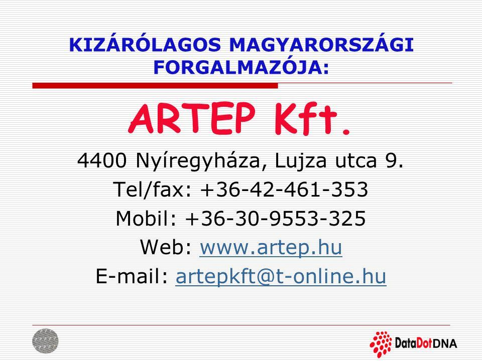 KIZÁRÓLAGOS MAGYARORSZÁGI FORGALMAZÓJA: ARTEP Kft. 4400 Nyíregyháza, Lujza utca 9. Tel/fax: +36-42-461-353 Mobil: +36-30-9553-325 Web: www.artep.huwww