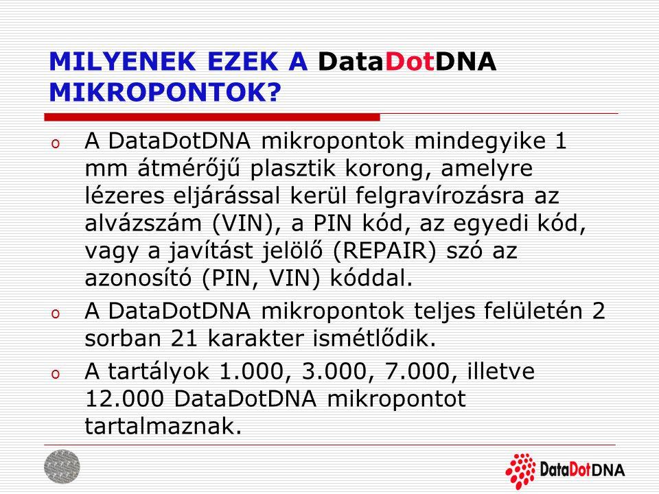 MILYENEK EZEK A DataDotDNA MIKROPONTOK? o A DataDotDNA mikropontok mindegyike 1 mm átmérőjű plasztik korong, amelyre lézeres eljárással kerül felgraví
