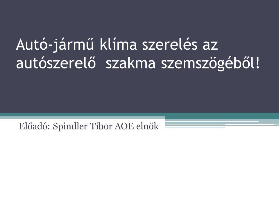 Autó-jármű klíma szerelés az autószerelő szakma szemszögéből! Előadó: Spindler Tibor AOE elnök